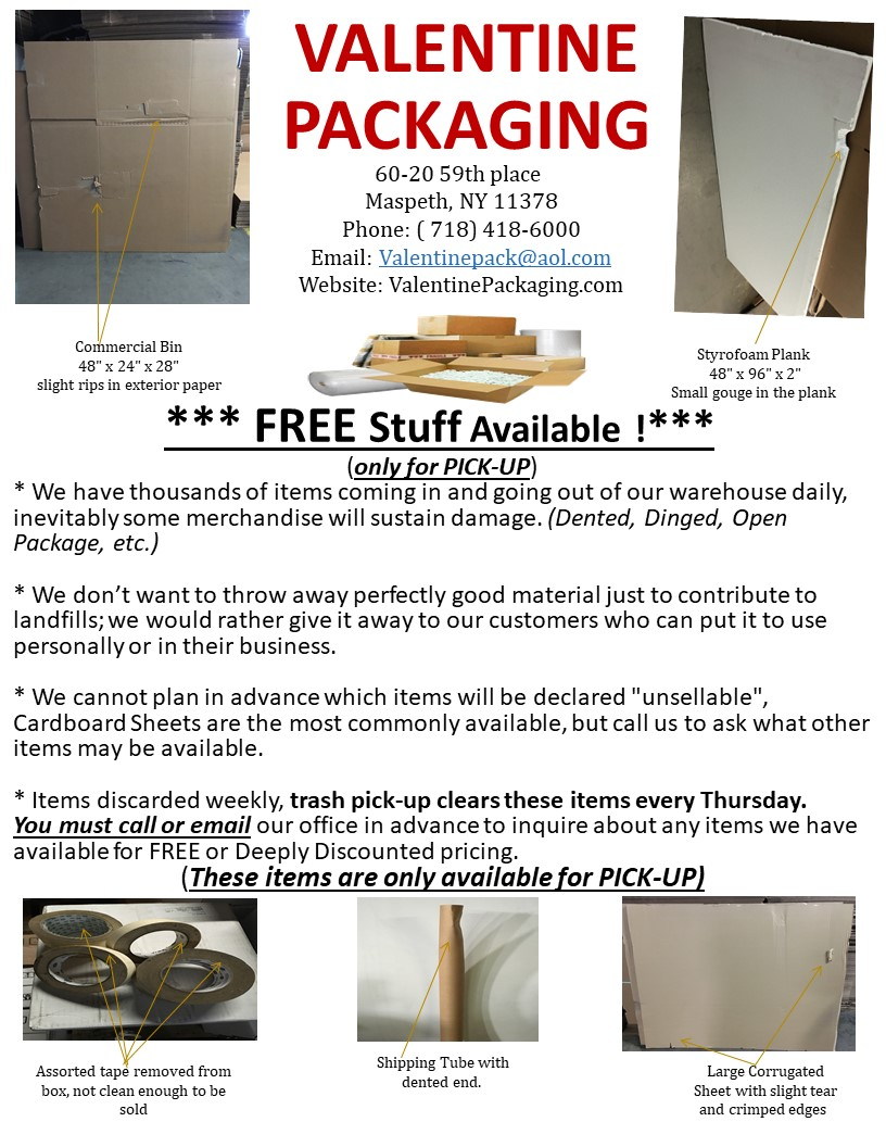Free Stuff Flyer - Valentine Packaging Corp