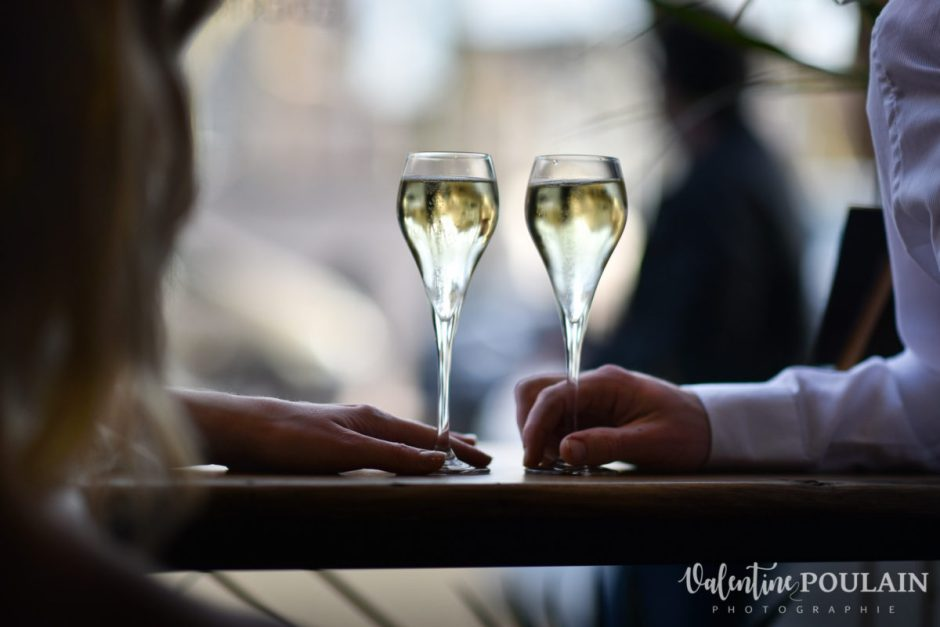 Shooting engagement demande mariage champagne