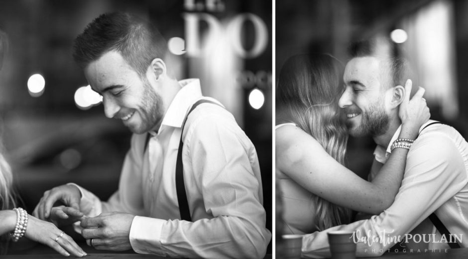Shooting engagement demande mariage bar proposition