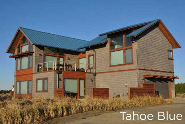 """New Metal """"Tahoe Blue"""" Roof on a 2-story home"""