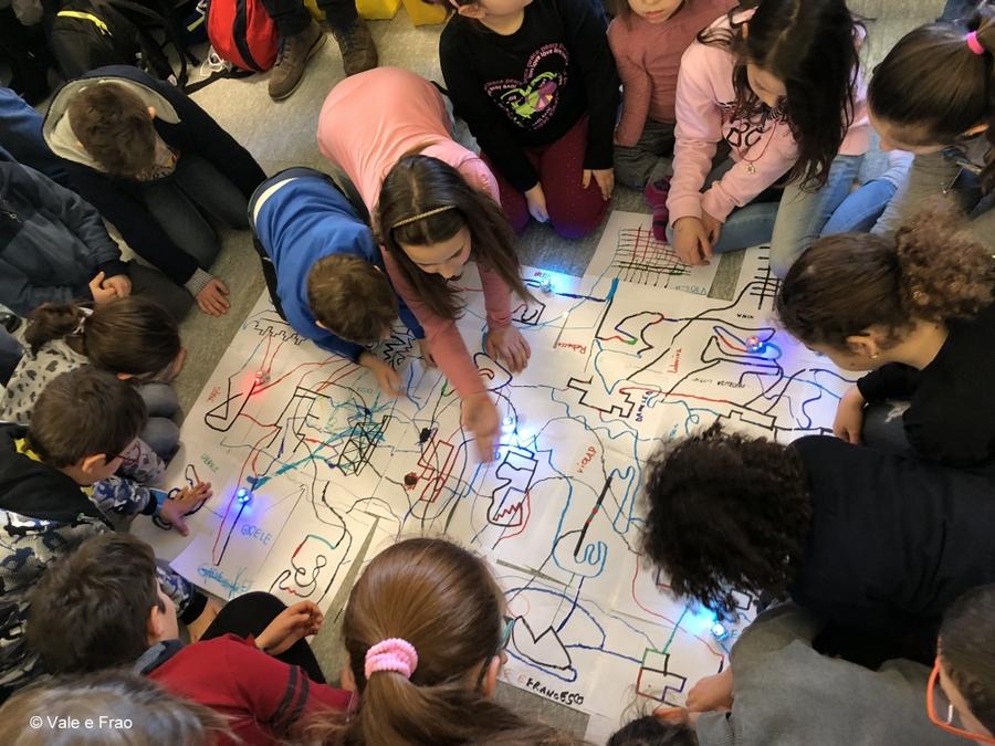 Laboratori di robotica per bambini al museo di Asti righe colorate Ozobot