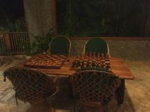 The place was decked to the nines with checkers n chess