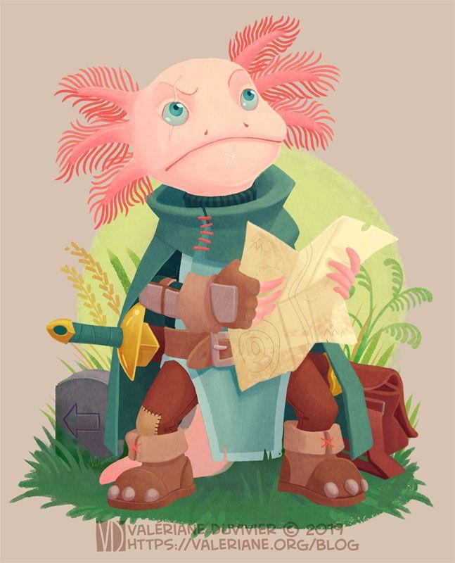 Illsutration pour le character design challenge sur le thème: Aventurier Axolotl