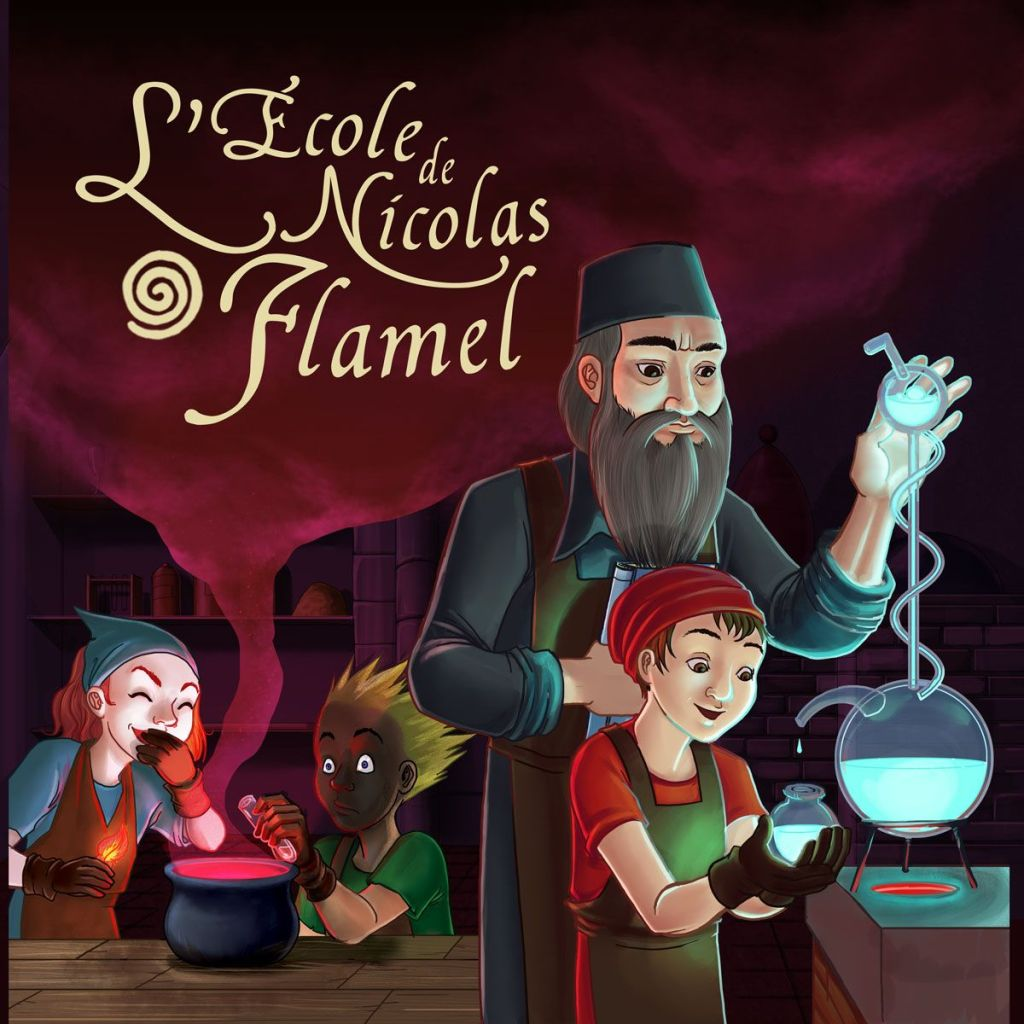 Illustration de la boite du jeu L'Ecole de Nicolas Flamel