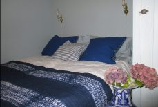 BEDSPREAD SHIBORI KANTHA-EMBROIDERED WIDE STRIPED BLUE