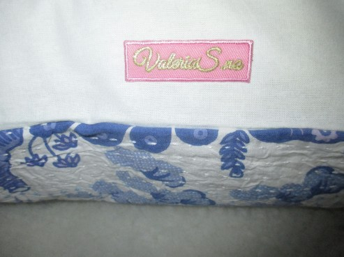 CUSHION KANTHA-EMBROIDERED WITH BLUE BIRDS