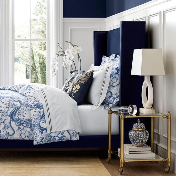 indigo navy blue bedroom How to use the color of the month: Sherwin Williams Indigo