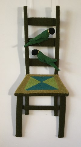 Ladder Back Chair II with parrots