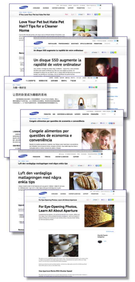montage of Samsung web articles