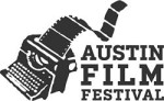 Typewriter with film coming out where paper usually does - the Austin Film Festival logo