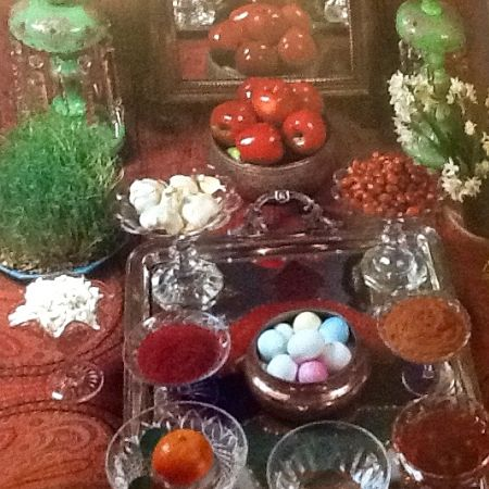 Norooz table set with holiday delicacies