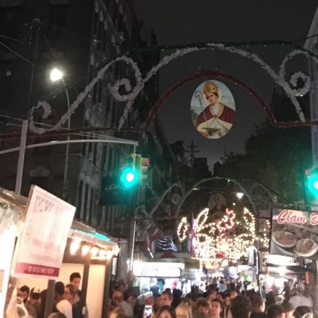 A picture of San Gennaro over Mulberry Street in Manhattan NYC's Little Italy