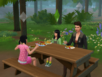 The girls eat and talk