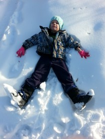 Carter made about 20 snow angels