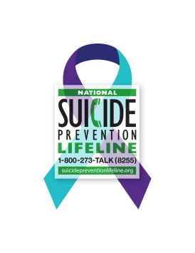 Purple & Teal ribbon - National Suicide Prevention lifeline - 1-800-273-TALK (8255)