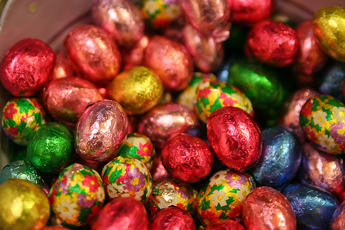 Brightly wrapped set of Chocolate Easter Eggs photo