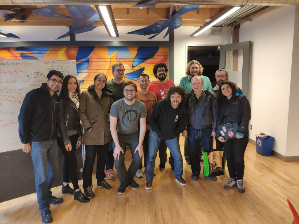 Participantes do Debian Bug Squashing Party em Toronto, Abril 2019.
