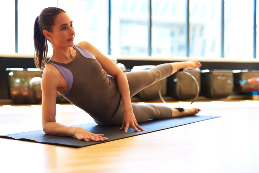 Pilates Instruction, side leg lifts to strenghten and extend muscles