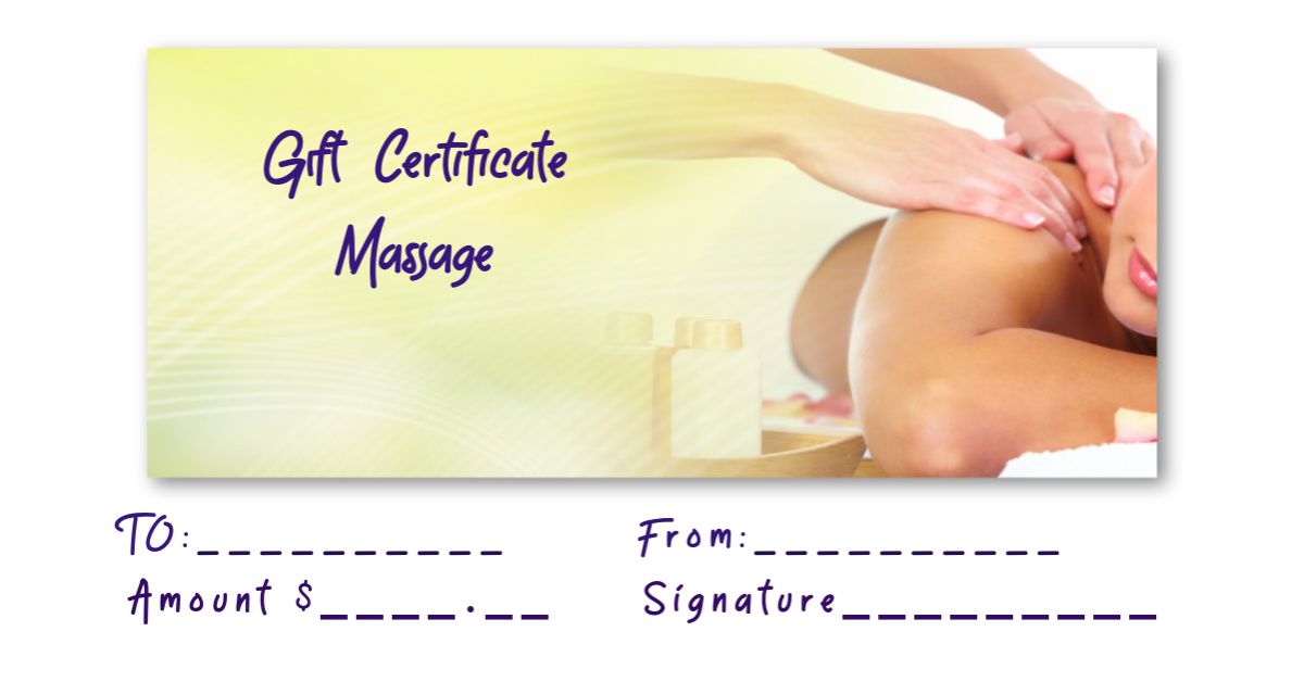 Gift Certificate for Valentina Massage