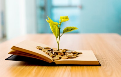 Young plant growing out of book with coins