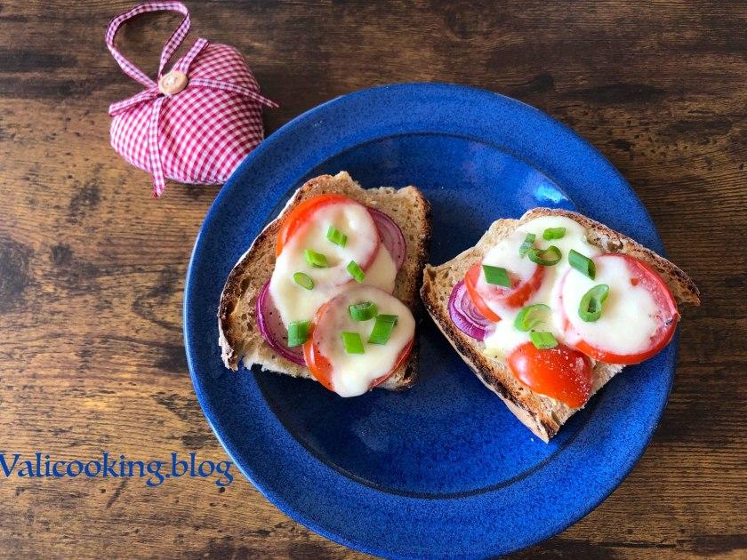 Tomato, mozzarella and garlic toasts