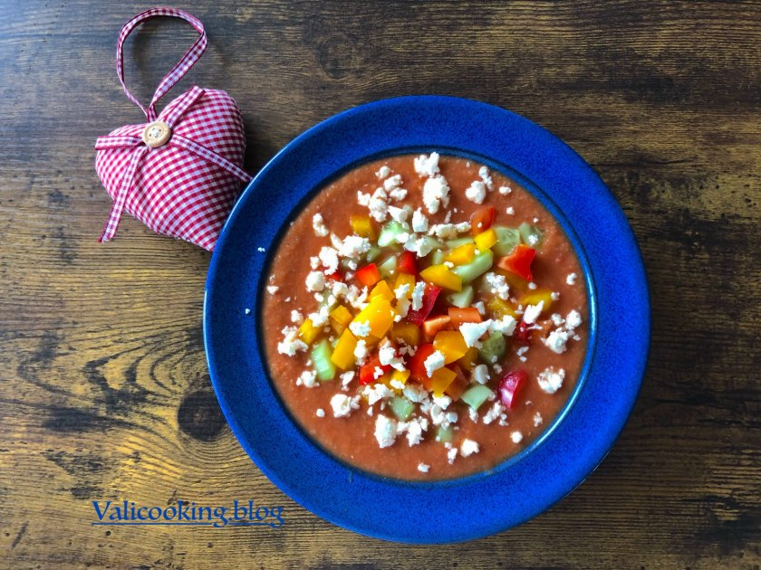 Cold Summer Soup with Bell Peppers, Cucumbers, Garlic and Feta
