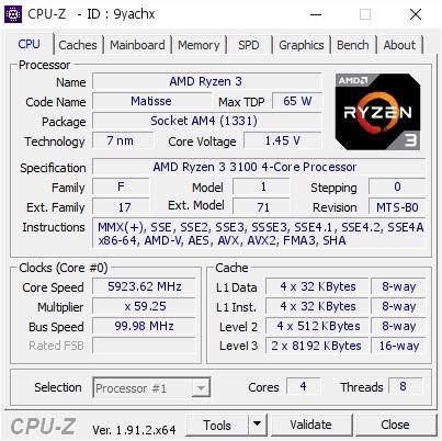 AMD Ryzen 3 3100 Quad Core CPU overclocked to 5.9 GHz
