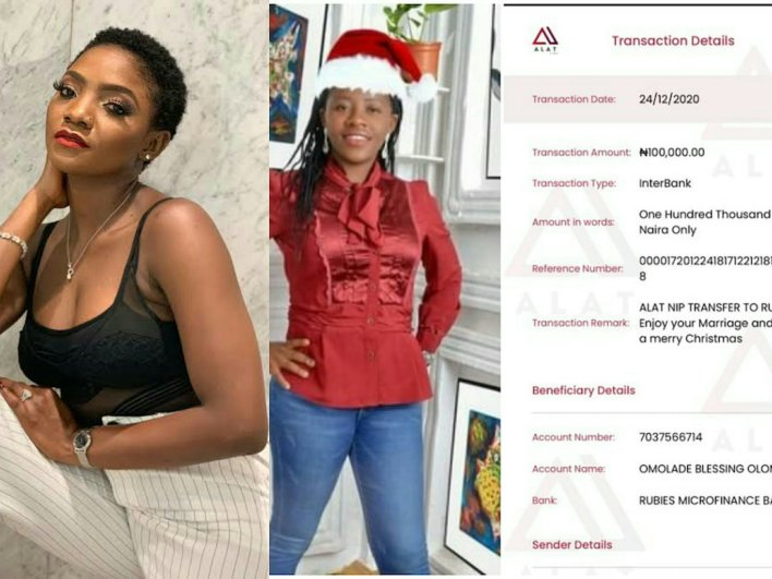 Simi Gifts Lady Over 200k After Appreciating Husband