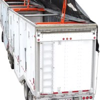 Truck and trailer on white background showing how Valid's automatic trucking tarp system works.