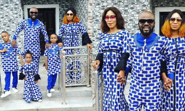 Actor, Chief Imo shares photos of his two wives and kids