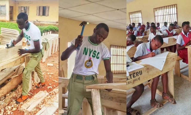 NYSC member Stephen M. Teru builds desks, tables, benches for over 80 students in his host community