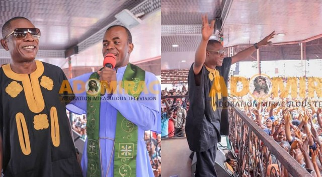 Actor Osuofia shares photos of him at Fr. Mbaka's Adoration Ministry
