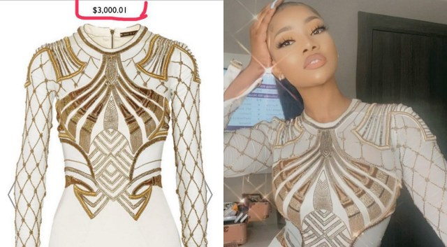 Tacha's homecoming dress is worth N1m according to the seller VChicLounge