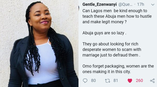 Lady begs Lagos men to come teach Abuja men how to hustle and make legit money, says they're too lazy