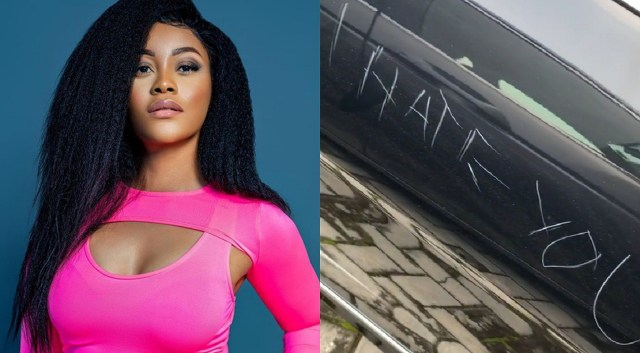 A hater left a sad message on actress Damilola's car while she was in Lekki mall