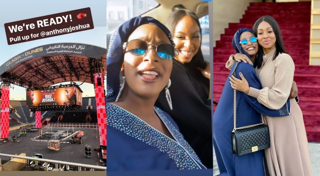 Dj Cuppy and Anthony Joshua's sister Janet in Saudi Arabia prior to his boxing rematch with Andy Ruiz Jr