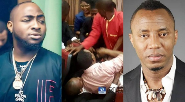 Davido reacts to the video of Sowore's re-arrest in court by DSS