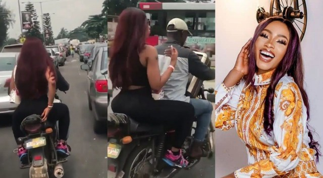 BBNaija's Mercy seen boarding a bike to avoid Lagos traffic congestion
