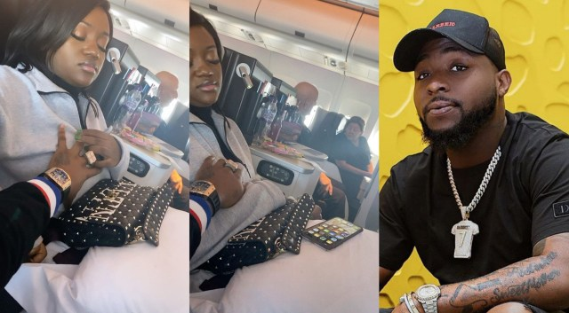 Davido shares a video of him fondling Chioma's breast while on flight