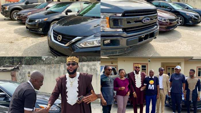 Businessman, E-Money gift cars to his employees for his birthday