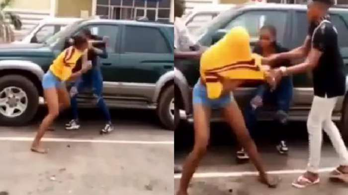 Two female IMT students seen fighting over a man in Enugu