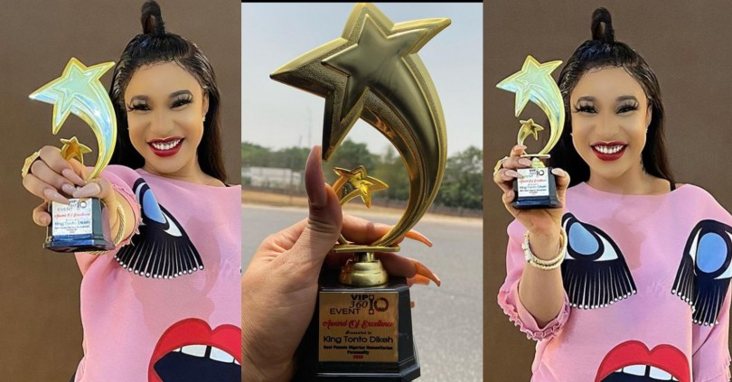 Nollywood Actress Tonto Dikeh Bags An Award Of Excellence