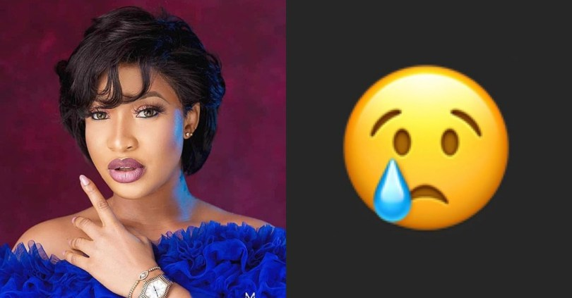 Tonto Dikeh gets fans worried after she posted a crying emoji, what could be wrong with her?