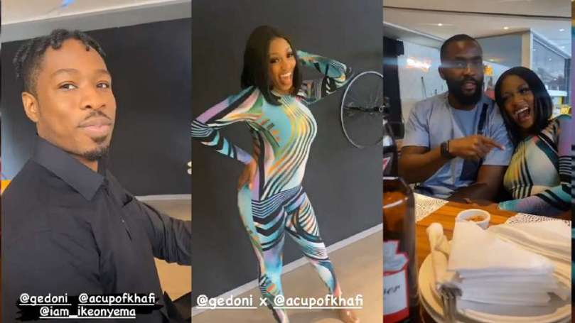 BBNaija: 'Ike find yourself a bae like Khafi' – Mike, Gedoni tell him as they step out together (video)