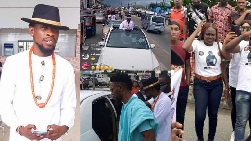 BBNaija: Great number of fans grace street of Bayelsa to welcome Trikytee (video)