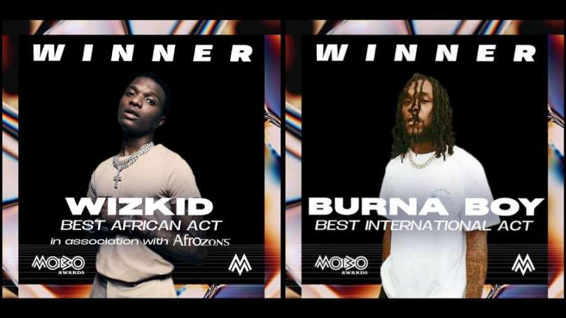 Wizkid, Burna Boy overtake Davido to win big at 2020 MOBO Awards; See list of winners