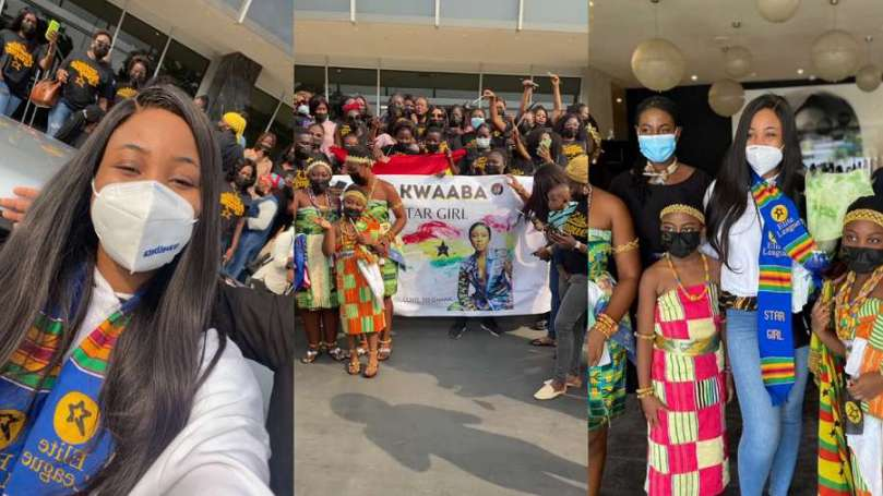Ghanaian supporters welcome BBNaija star Erica in grand style (video)