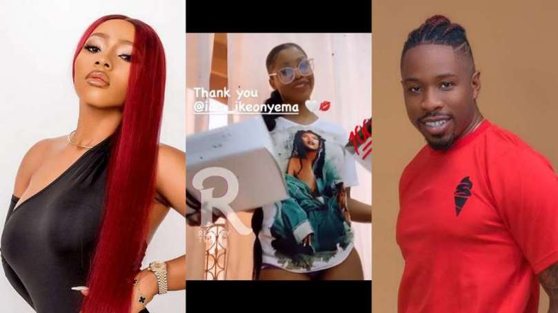 BBNaija's Ike leaves Mercy Eke jealous as he sends his friend Tacha a package (video)