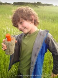 My happy cacher, George, in Manitoba.