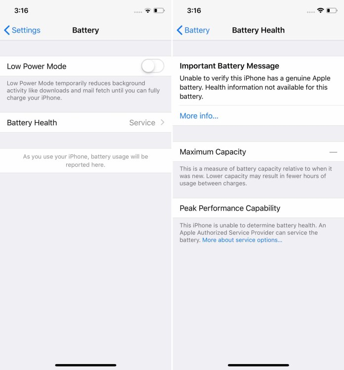 "Screenshot of ""Service"" message in the iPhone's Battery Health settings."